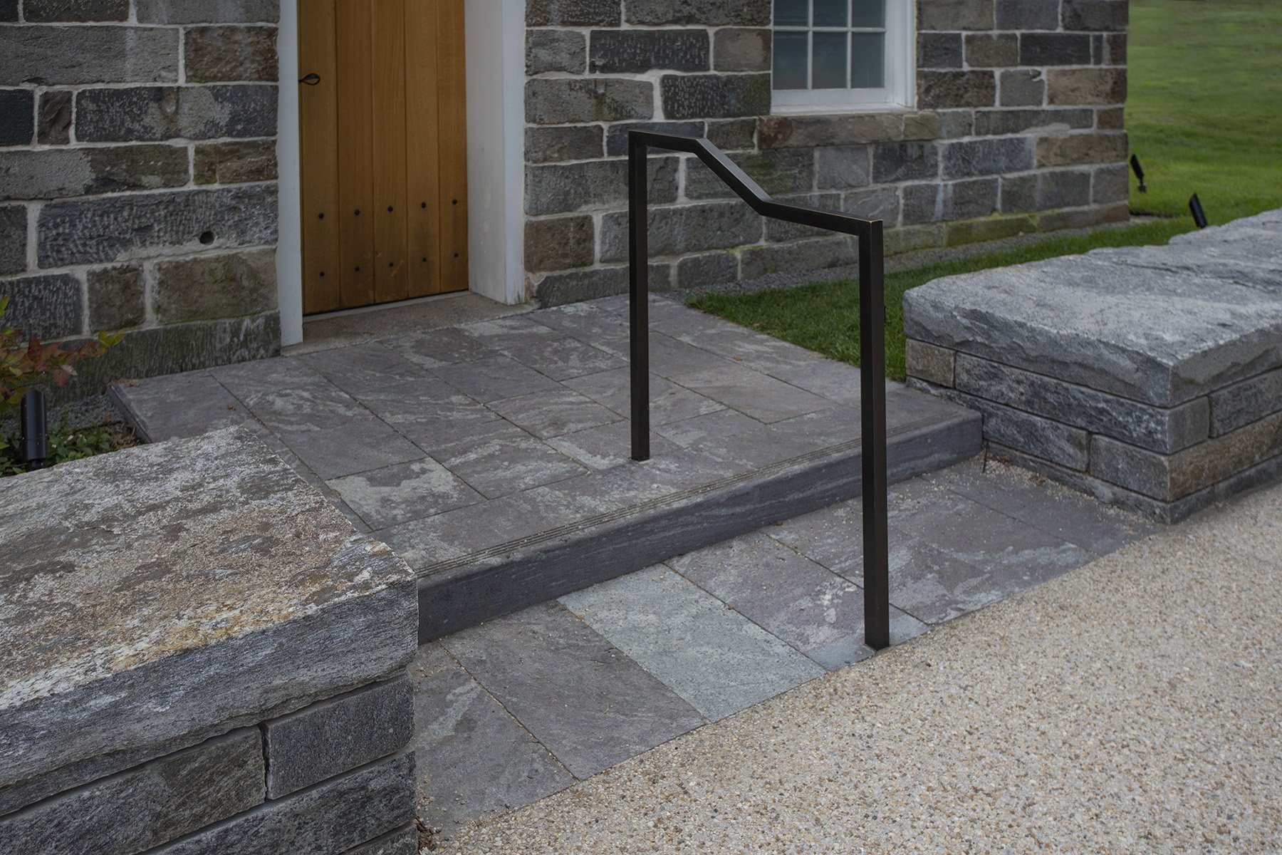 stone step with railing
