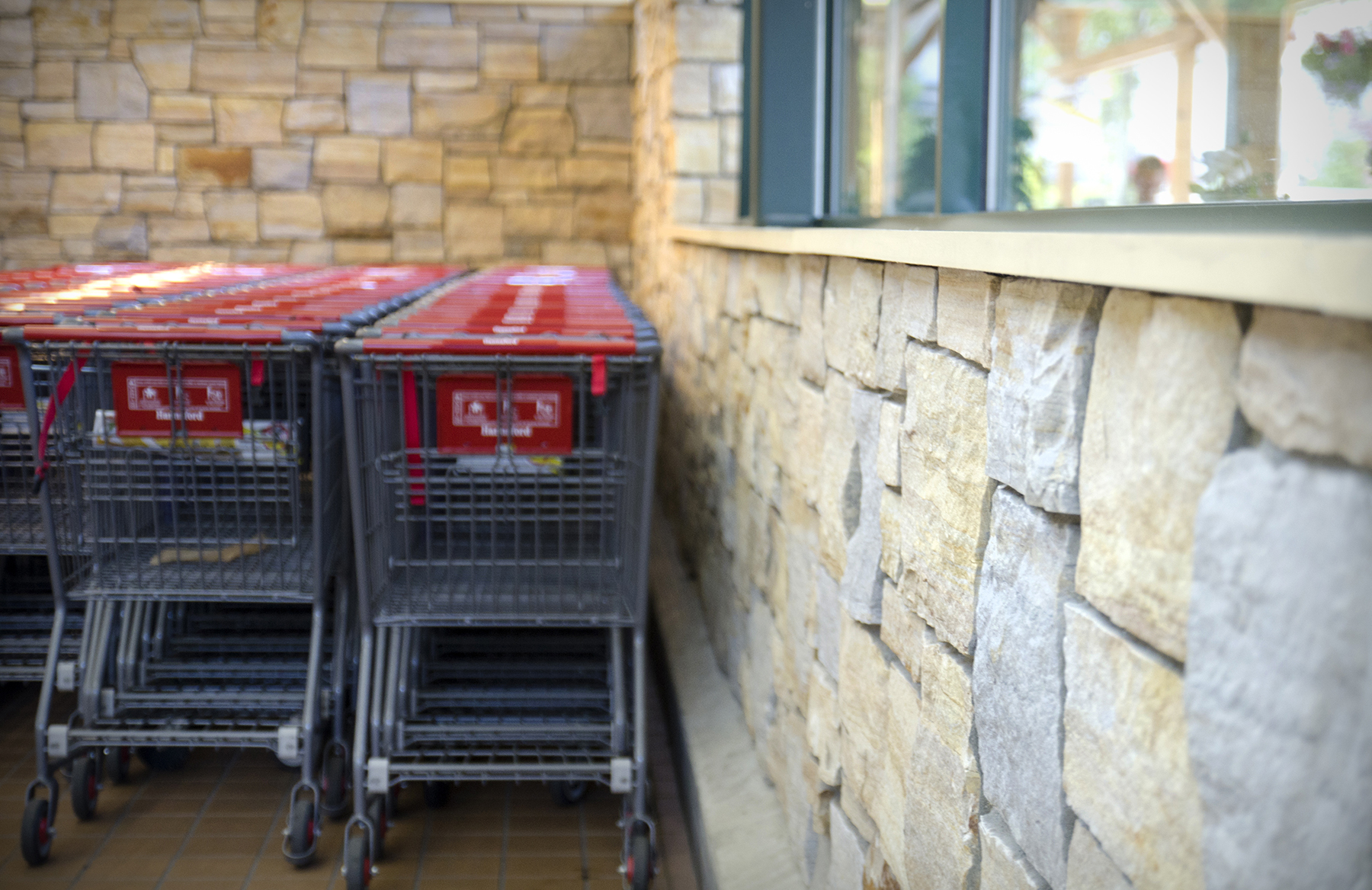 shopping carts against stone