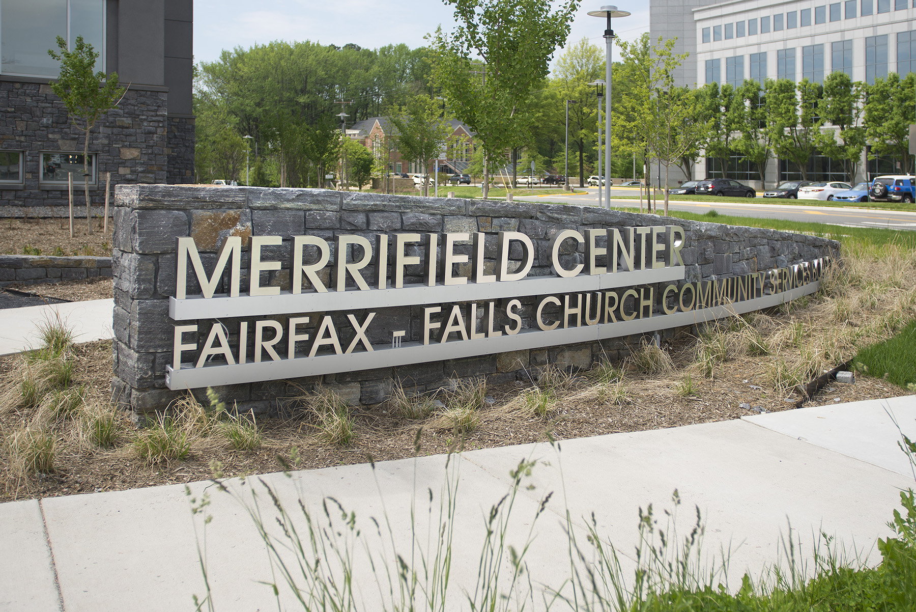 merrifield center stone display sign