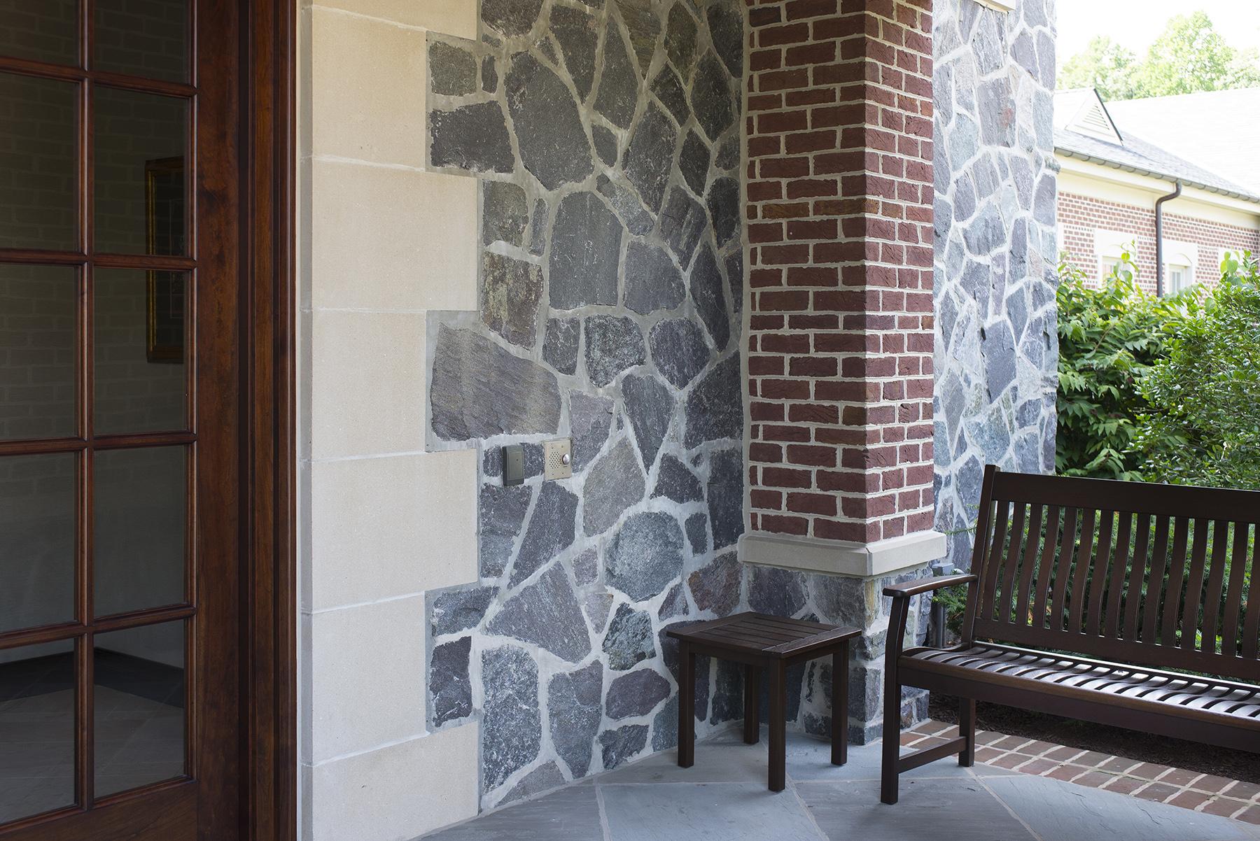 bench on stone patio