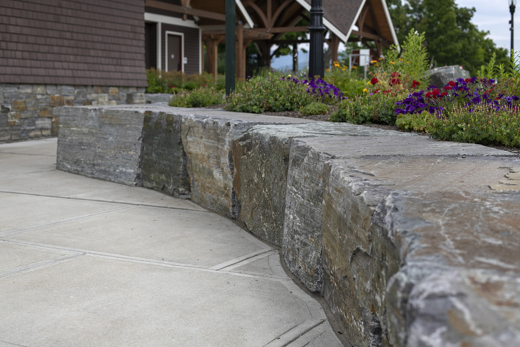 inside look at curved stone wall