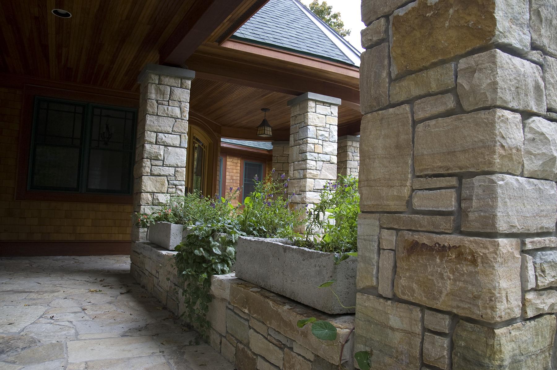 stone hallway and columns
