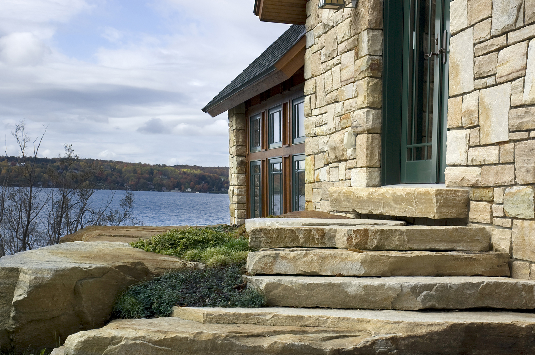 stone stairs looking out on lake