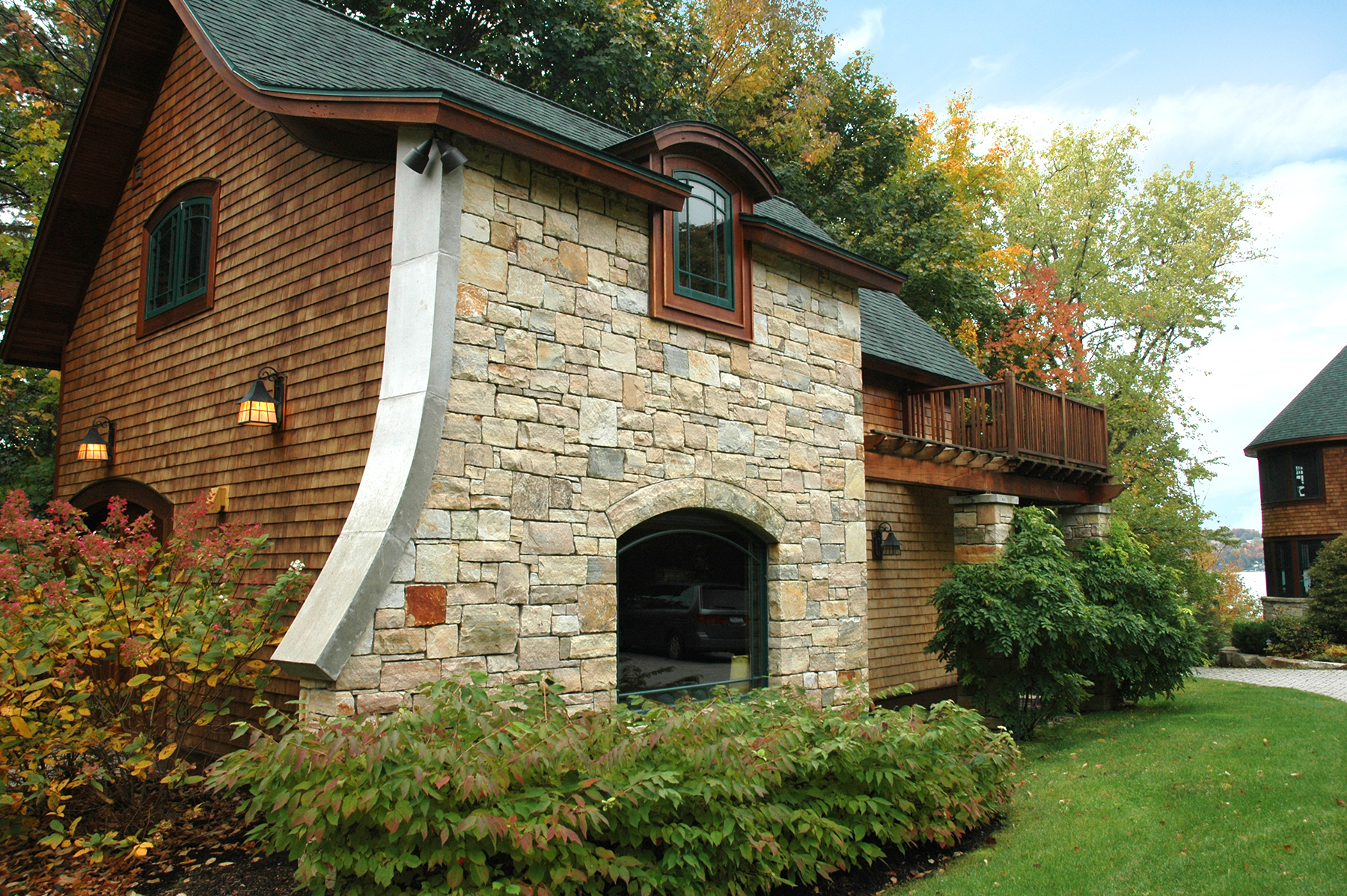 stone and wood mixed exterior