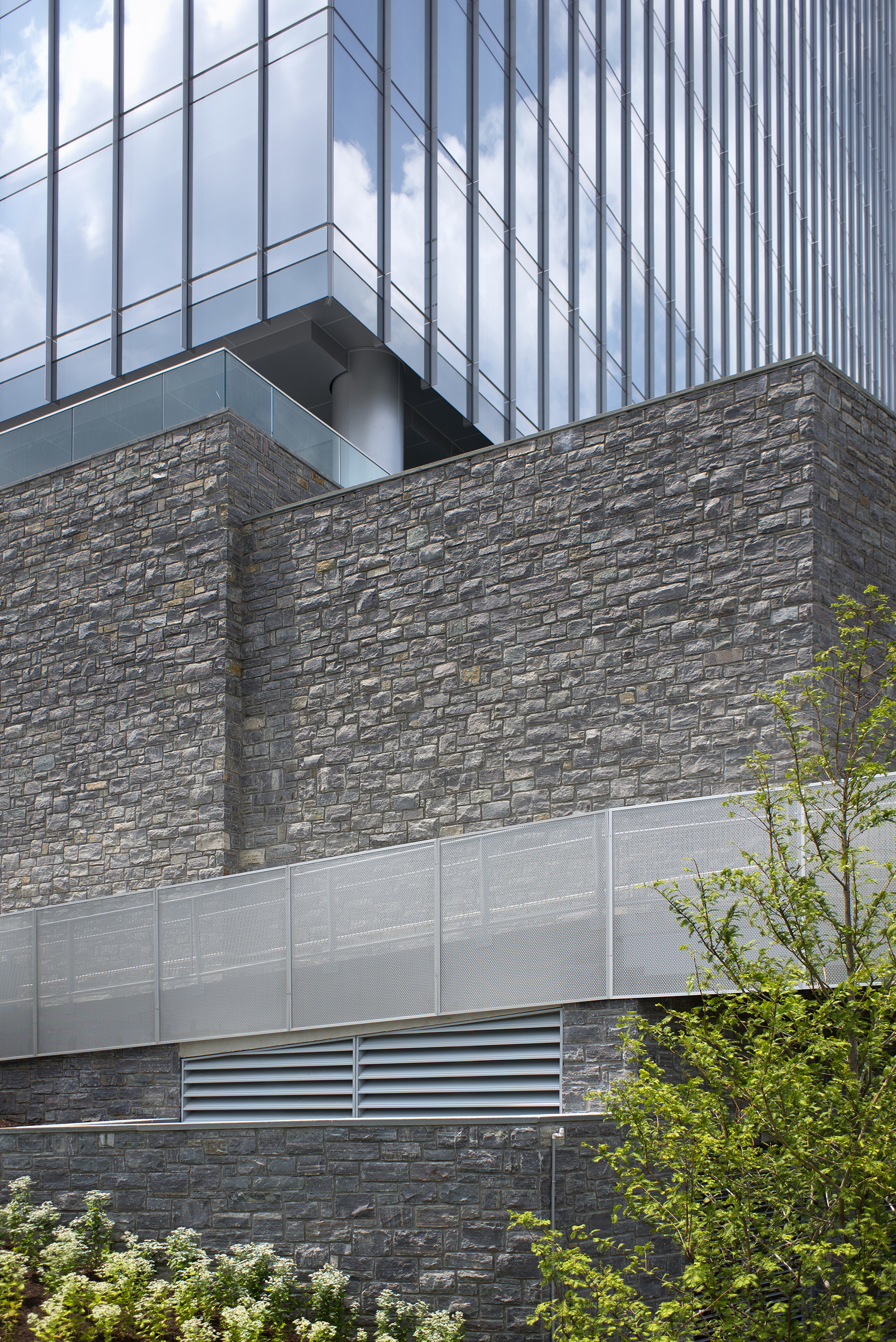 stone walls in front of building