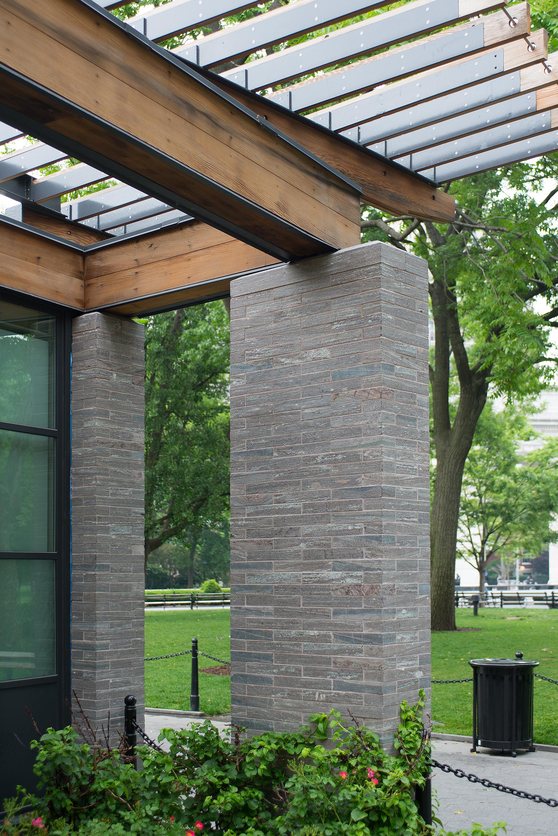 two stone pillars