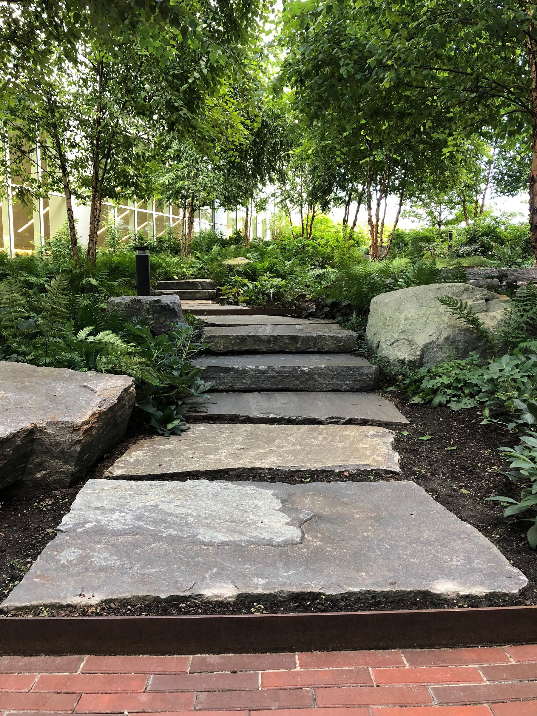 large flat stones in garden